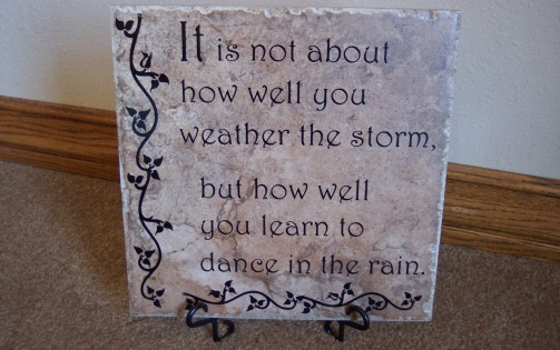 It is not about how well you weather the storm, but how well you learn to dance in the rain.