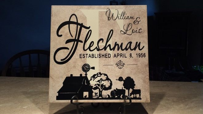 "The ""Fleshman"" tile -- a slight spin-off from our recent wedding design which is perfect for farm families!"